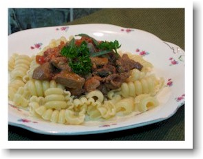 chicken liver and pasta with fresh herbs