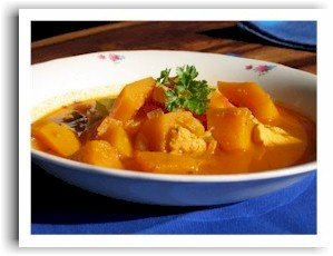 chicken soup recipe with golden pumpkin